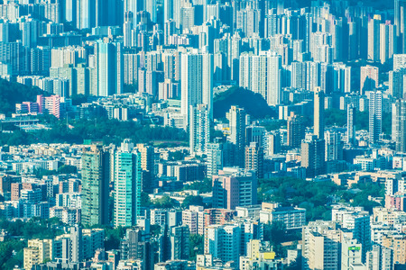 Beautiful architecture building with pattern of hong kong people residential in city