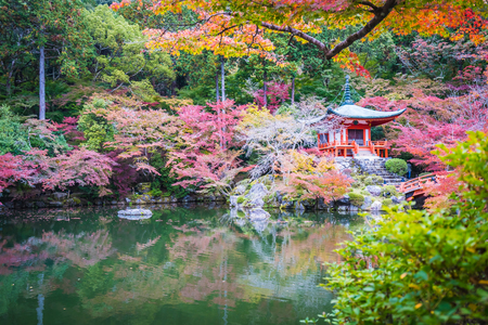 Beautiful Daigoji temple with colorful tree and leaf in autumn season Kyoto Japan Editorial