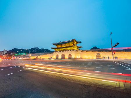 Beautiful architecture building of gyeongbokgung palace landmark of Seoul city in South Korea Stock Photo