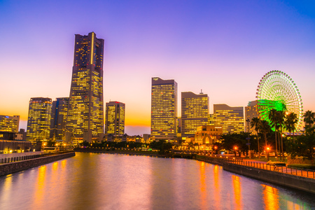 Beautiful architecture building of yokohama city skyline at twilight in Japan Reklamní fotografie - 121028700