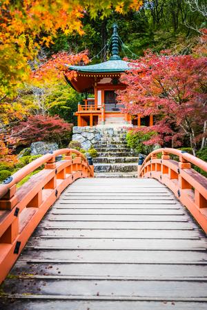 Hermoso templo Daigoji con coloridos árboles y hojas en la temporada de otoño Kyoto Japón