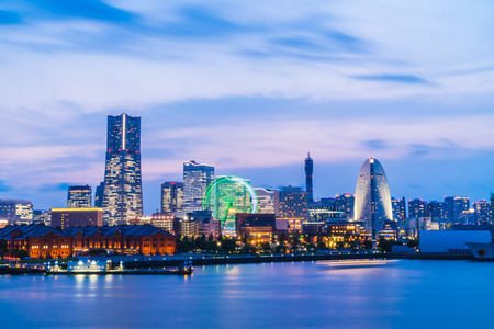 Beautiful exterior of building and architecture in Yokohama city skyline japan at night