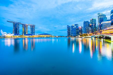 Singapore, 20 Jan 2019 : Beautiful architecture building skyscraper around marina bay in singapore city at twilight Reklamní fotografie - 121016819