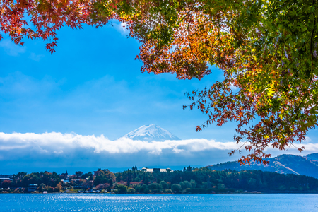 Beautiful landscape of mountain fuji with maple leaf tree around lake in autumn season Reklamní fotografie