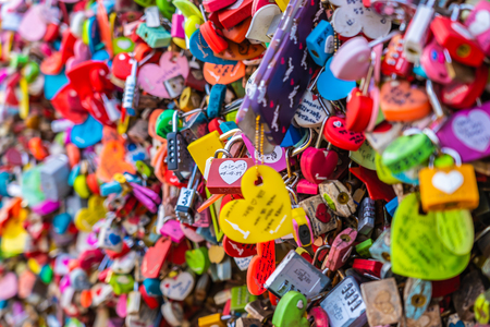 Seoul, South Korea 6 December 2018 : Love key on namsan mountain with Seoul tower is the one of landmark in Korea Редакционное