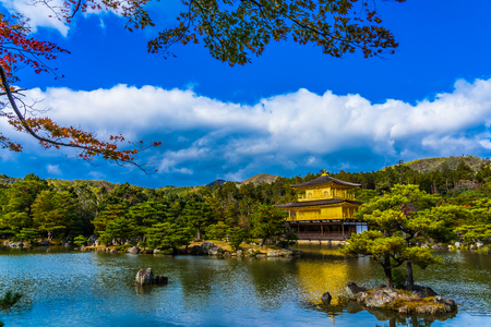 Beautiful Kinkakuji temple with golden pavillion landmark of Kyoto japan