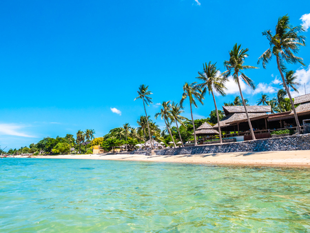 Beautiful tropical beach and sea with coconut palm tree for travel and vacation Imagens
