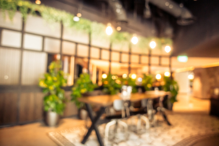 Abstract blur coffee shop cafe interior for background Imagens