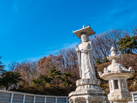 Beautiful Buddhism Statue in Bongeunsa Temple at Seoul City South Korea