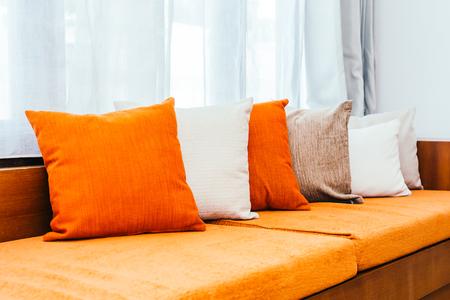 Comfortable pillow on sofa decoration interior luxury of room Imagens
