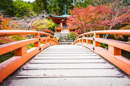 Beautiful Daigoji temple with colorful tree and leaf in autumn season Kyoto Japan Imagens