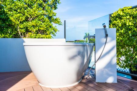 Beautiful luxury white bathtub decoration interior of bathroom for relaxtion