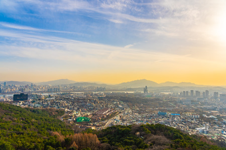 Beautiful landscape and cityscape with architecture and building in Seoul city South Korea Imagens