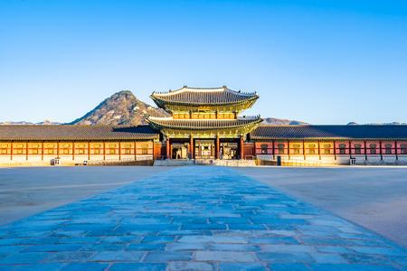 Beautiful architecture building Gyeongbokgung palace in Seoul South Korea Фото со стока