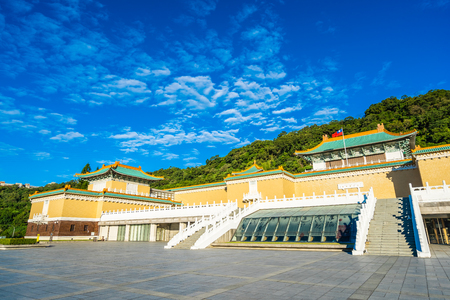 Beautiful architecture building exterior of landmark of taipei national palace museum for travel in taiwan 免版税图像 - 119152927