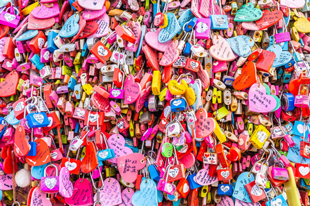 Seoul, South Korea 6 December 2018 : Love key on namsan mountain with Seoul tower is the one of landmark in Korea Фото со стока