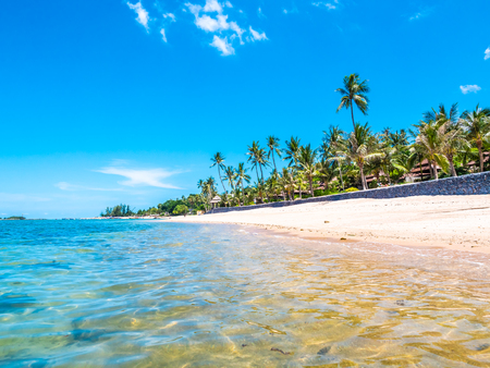 Beautiful tropical beach and sea with coconut palm tree for travel and vacation 스톡 콘텐츠