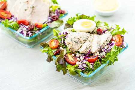 Grilled chicken meat breast with fresh vegetable salad - Healthy food style