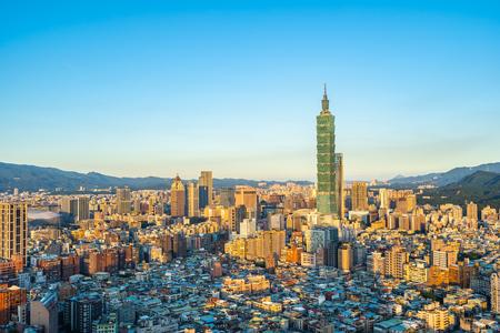 Beautiful architecture building taipei city skyline in Taiwan