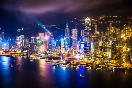 Beautiful architecture building exterior cityscape of hong kong city skyline at night