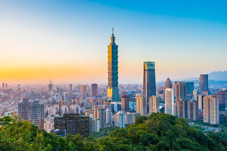 Beautiful landscape and cityscape of taipei 101 building and architecture in the city skyline at sunset time in Taiwan