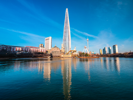 Seoul, South Korea : 8 December 2018 Beautiful architecture building Lotte tower is the one of landmark in Seoul City Redakční