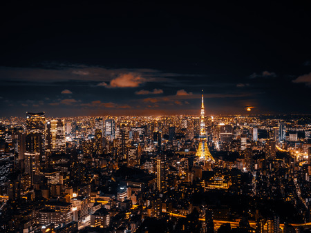 Beautiful city with architecture and building in tokyo cityscape japan at night Stockfoto