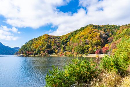 Beautiful landscape around lake kawaguchiko in autumn sesaon Yamanashi Japan