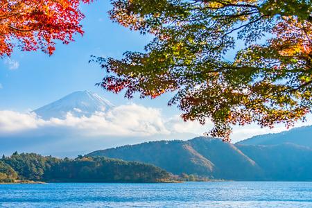 Beautiful landscape of mountain fuji with maple leaf tree around lake in Yamanashi Japan
