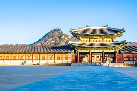 Beautiful architecture building Gyeongbokgung palace in Seoul South Korea �ditoriale