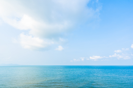 Beautiful landscape of sea ocean with white cloud and blue sky with copy space for leisure travel and vacation