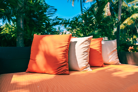 Pillow on sofa furniture decoration outdoor patio in the garden for leisure and relax Reklamní fotografie - 120836144