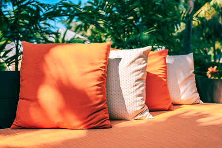 Pillow on sofa furniture decoration outdoor patio in the garden for leisure and relax Reklamní fotografie - 120840206