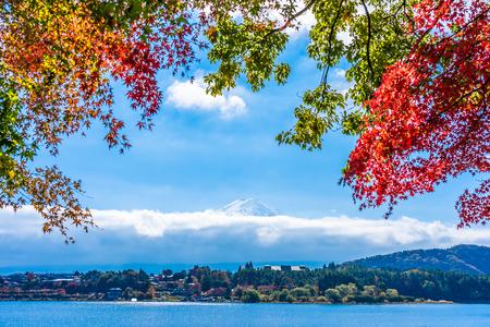 Beautiful landscape of mountain fuji with maple leaf tree around lake in autumn season Stockfoto