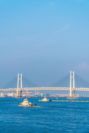 Beautiful exterior of Yokohama bridge in the city around sea Stockfoto