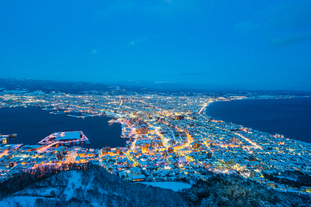 Beautiful landscape and cityscape from Mountain Hakodate for look around city skyline building and architecture at night 版權商用圖片