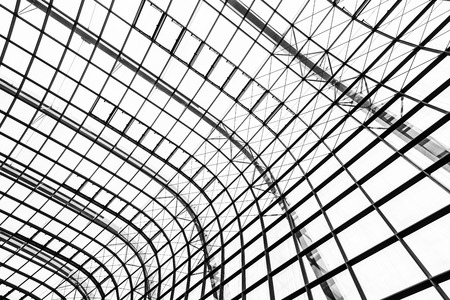 Abstract glass window roof architecture exterior for background in black and white color Imagens