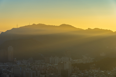 Beautiful architecture building taipei city skyline at sunset in Taiwan Imagens