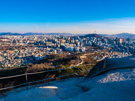 Beautiful Architecture building cityscape with tower in Seoul city South Korea Imagens