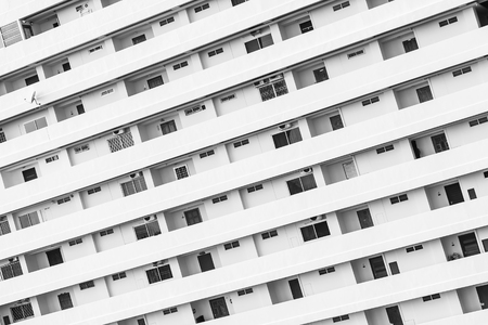 Building exterior with window balcony pattern textures and surface in black white color