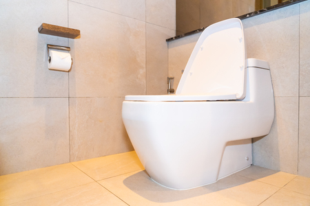 Luxury white bowl seat decoration in toilet and bathroom