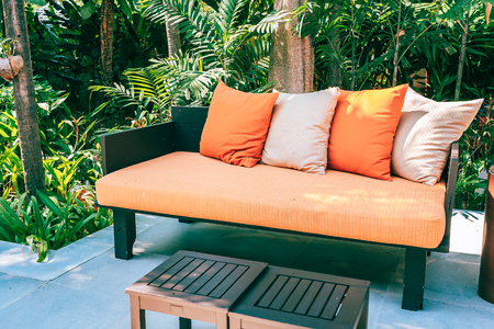 Pillow on sofa furniture decoration outdoor patio in the garden for leisure and relax