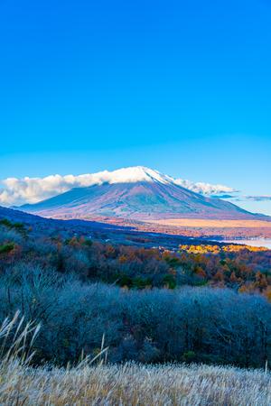 Beautiful landscape of fuji mountain in yamanakako or yamanaka lake in autumn season Japan