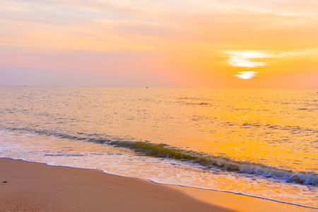Beautiful outdoor landscape of sea and tropical beach at sunset or sunrise time for leisure travel and vacation
