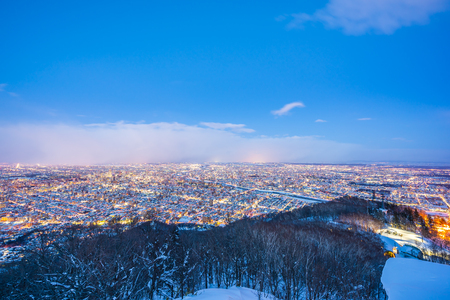 Beautiful landscape with moiwa mountain around tree and city in snow winter season at night time in Sapporo Hokkaido Japan