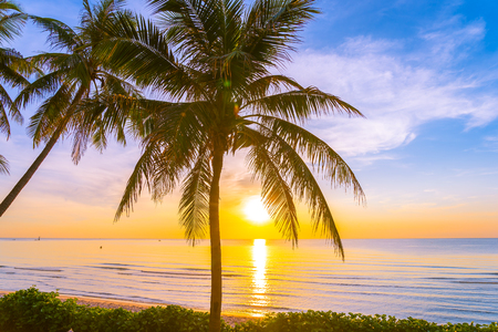 Beautiful outdoor tropical landscape of sea ocean beach with coconut palm tree at sunrise or sunset time for leisure relax in holiday vacation