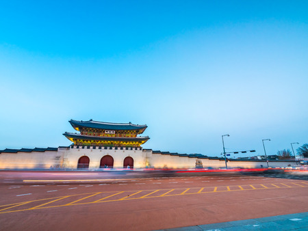 Beautiful architecture building of gyeongbokgung palace landmark of Seoul city in South Korea Editorial