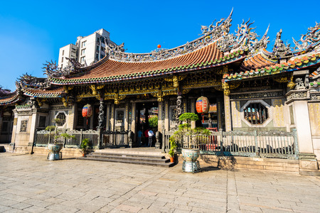 Beautiful architecture building popular place in taipei city is longshan temple Taiwan