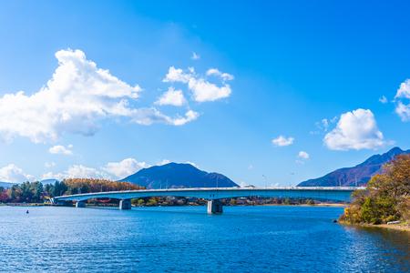 Beautiful landscape around lake kawaguchiko in autumn season Yamanashi Japan