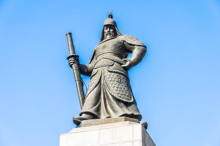 Beautiful Statue Admiral Yi Sun Shin in Seoul city South Korea Stock Photo